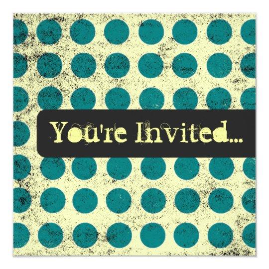 Teal Polka Dot Background Invitations