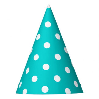 Teal Polka Dot Party Hat