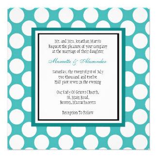 Teal Polka Dot Wedding Invitation