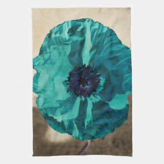 Teal Poppy Tea Towel