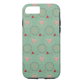 Teal Primitive Country Style Gingham Hearts iPhone 8/7 Case