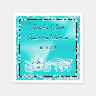 Teal Princess Coach & Horses Quinceañera Paper Napkin