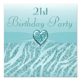 Teal Printed Heart & Zebra Glitter 21st Birthday 13 Cm X 13 Cm Square Invitation Card