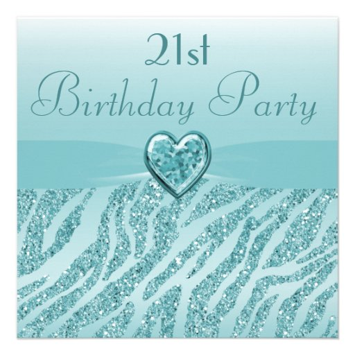 Teal Printed Heart & Zebra Glitter 21st Birthday Personalized Announcement