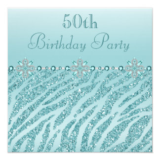 Teal Printed Jewels & Zebra Glitter 50th Birthday 13 Cm X 13 Cm Square Invitation Card