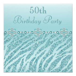 Teal Printed Jewels & Zebra Glitter 50th Birthday 13 Cm X 13 Cm Square Invitation Card