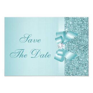 Teal Printed Sequins Wedding Save the Date 9 Cm X 13 Cm Invitation Card