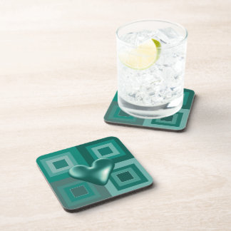 Teal Puffy Heart Design Drink Coaster