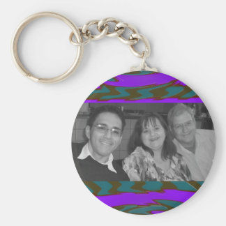 teal purple abstract photoframe keychain