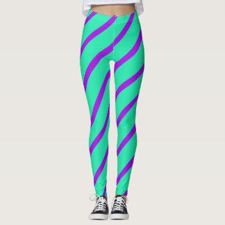 Teal Purple Angled Stripes Leggings