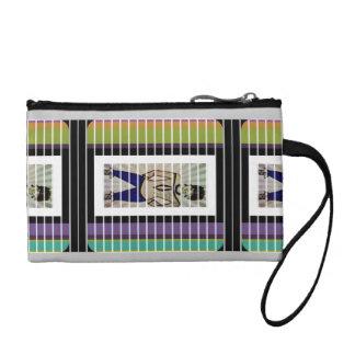 Teal,Purple,black and White Stripe Mini Clutch Coin Purse