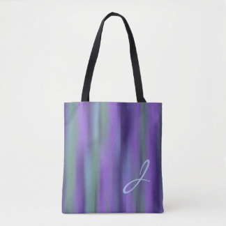 Teal Purple Blue Green Monogram Abstract Tote Bag