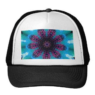 Teal Purple Blue Kaleidescape Floral Pattern Cap