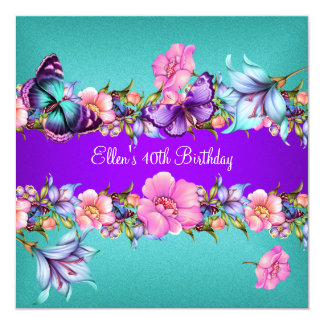 Teal Purple blue Pink Butterfly Birthday Party 13 Cm X 13 Cm Square Invitation Card