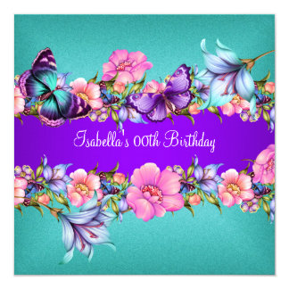 Teal Purple blue Pink Butterfly Birthday Party 2 13 Cm X 13 Cm Square Invitation Card