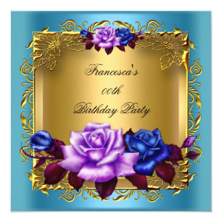 Teal Purple Blue Roses Gold Birthday Party 13 Cm X 13 Cm Square Invitation Card