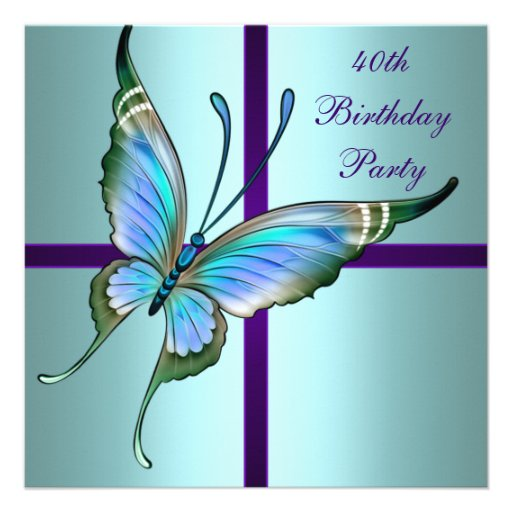 Teal Purple Butterfly Elegant 40th Birthday Party Personalized Announcement
