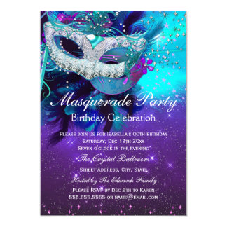 Teal Purple Feather Mask Masquerade Birthday 13 Cm X 18 Cm Invitation Card