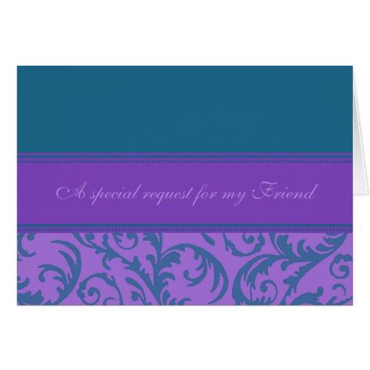 Teal Purple Friend Bridesmaid Invitation Card