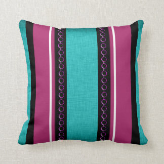 Teal purple funky stripes throw pillow