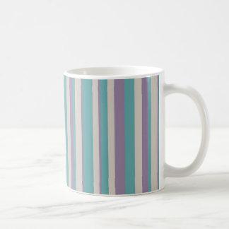 Teal Purple Grey Striped Mug