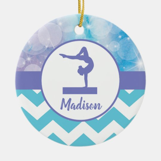 Teal Purple Gymnastics Ornament