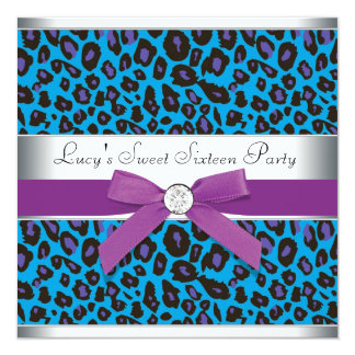 Teal Purple Leopard Sweet 16 Party 13 Cm X 13 Cm Square Invitation Card