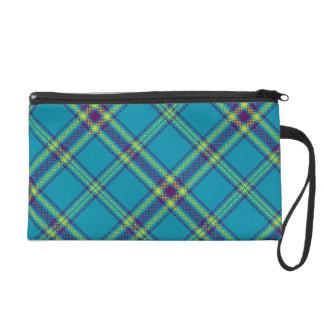Teal/Purple/Lime Tartan Plaid Bag Wristlets