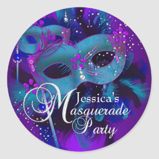 Teal & Purple Masks Masquerade Party Sticker