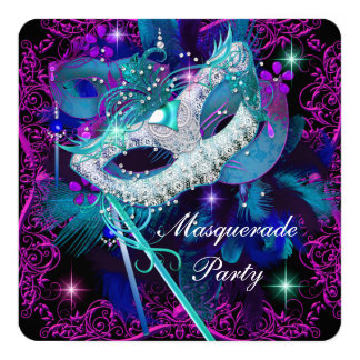 Teal & Purple Masquerade Ball Party 13 Cm X 13 Cm Square Invitation Card