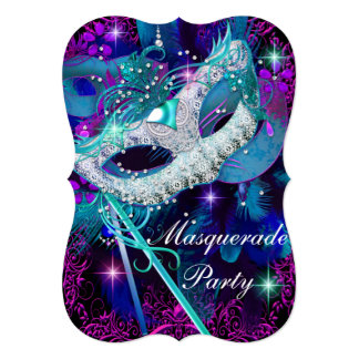 Teal & Purple Masquerade Ball Party 13 Cm X 18 Cm Invitation Card