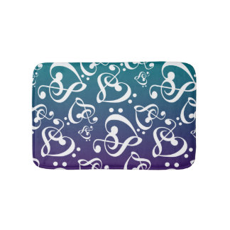 Teal Purple Ombre Music Note Clef Hearts Pattern Bath Mat
