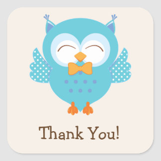 Teal & Purple Owl Thank You Square Sticker
