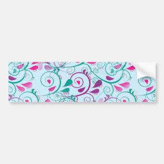 Teal Purple Pink Floral Flourish Swirls on Blue Bumper Sticker