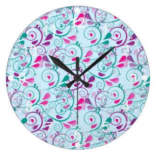 Teal Purple Pink Floral Flourish Swirls on Blue Wall Clock