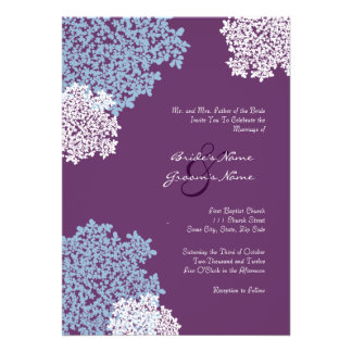 Teal & Purple Queen Anne's Lace Wedding Invitation