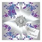 Teal Purple Roses Bridal Shower Invitation