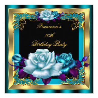 Teal Purple Roses Gold Elegant Womans Birthday 4 Card