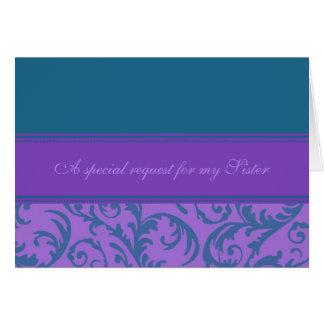 Teal Purple Sister Bridesmaid Invitation Card
