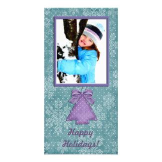 Teal Purple Snowflake Photo Card
