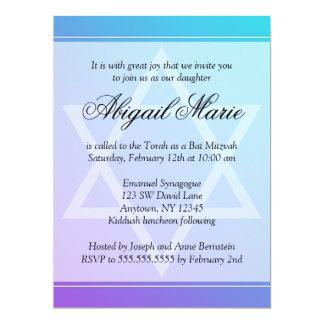 Teal Purple Star of David Bat Mitzvah 17 Cm X 22 Cm Invitation Card
