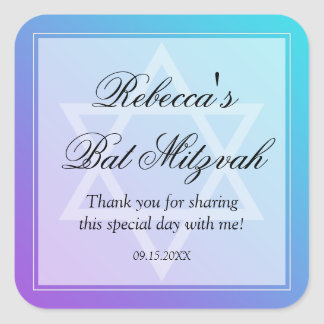 Teal Purple Star of David Bat Mitzvah Favor Square Sticker