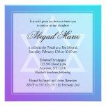 Teal Purple Star of David Bat Mitzvah Square Invite
