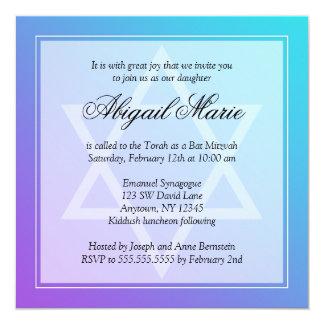 Teal Purple Star of David Bat Mitzvah Square 13 Cm X 13 Cm Square Invitation Card