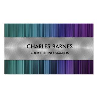 Teal Purple Stripe Steel Business Card