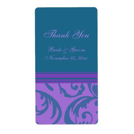 Teal Purple Swirls Wedding Labels