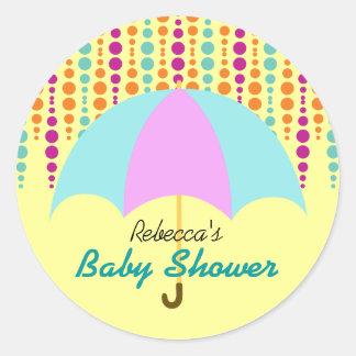 Teal & Purple Umbrella Baby Shower Round Sticker