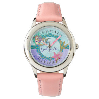 Teal & Purple Watercolor Monogram Mermaid Watch