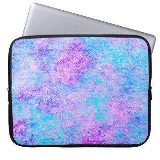 teal, purple, watercolor, pattern laptop sleeve