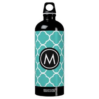 Teal Quatrefoil Monogram Black SIGG Water Bottle SIGG Traveller 1.0L Water Bottle